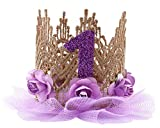 Cloud Kids Baby Princess Crown 1 Jahr Geburtstag Haarband Mädchen Blume Krone Stirnband Haarschmuck (Lila)