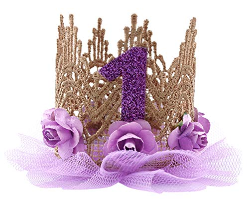 Cloud Kids Baby Princess Crown 1 Jahr Geburtstag Haarband Mädchen Blume Krone Stirnband Haarschmuck (Lila) (1. Halloween-thema Geburtstag)