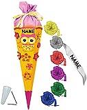Unbekannt BASTELSET Schultüte -  lustige Eule & Blumen  - 85 cm - incl. individueller Schleife + Name - mit / ohne Kunststoff Spitze - Zuckertüte - Set zum selber Bas..