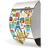 banjado - buzón de acero inoxidable diseño 30 cm x45 cm x14 cm con diseño de Paris, mon Amour