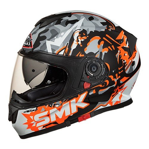 SMK MA276 Twister Attack Graphics Pinlock Fitted Full Face Helmet with Clear Visor (Matt Black, Orange and Grey, XS)
