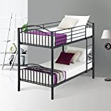Metal Bunk Beds Frame 2 x 3FT Single, UEnjoy 2 Person For Kids Teenagers Childrens and Adults Twin Bed , Black