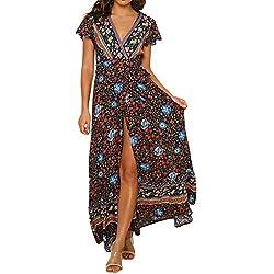 Vestidos Largos Mujer, Vestidos de Fiesta Vestido de Bohemia de Cintura Alta Casual Sexy para Mujer Boho de Playa Vestido Midi Estampado Nacional De Cuello En V Mujeres
