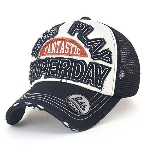 Ililily Logo Patch Mesh Back Cotton Snapback Hat Vintage Distressed Baseball Cap
