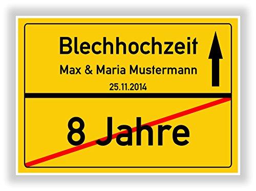 Geschenkidee zur Blechhochzeit - 8 Jahre verheiratet - Blech Hochzeit - Ortsschild Bild Geschenk zum Hochzeitstag - Jubiläum mit Namen und Datum