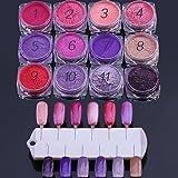 12pcs Nagelkunst rot und lila eine Reihe von fluoreszierenden Toner