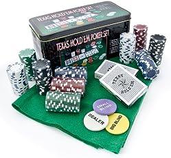 Relaxdays Pokerset Texas Hold em Poker Set Pokerspiel mit 200 Chips und Spielfeld in Metalldose