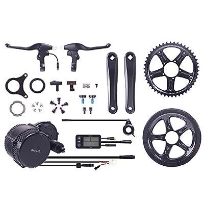 Bafang 8FUN BBS-01 / 02 Motor Kit, 250W & 500W 36V / 48V Mittelmotor Umbausatz zum Elektrofahrrad,Pedelec,E-Bike mit 2 Bremshebel,L6BT LED Display,Sensor,Zahnrad und Pedalarmen