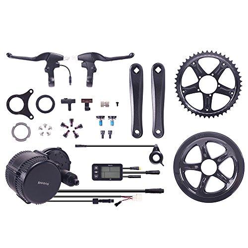 Das-Kit Bafang 8FUN BBS-01/02 Motor, 250W & 500W 36V/48V Mittelmotor Umbausatz zum Elektrofahrrad,Pedelec,E-Bike mit 2 Bremshebel,L6BT LED Display,Sensor,Zahnrad und Pedalarmen (48V 500W)