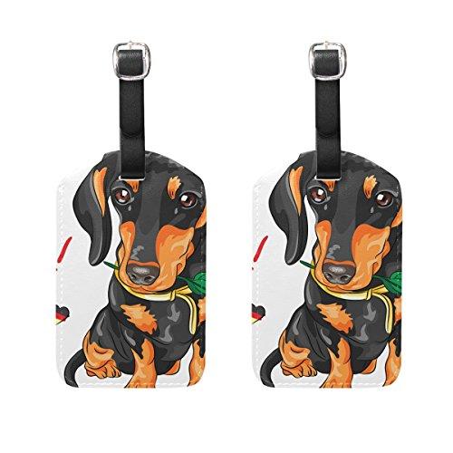 COOSUN Hund Dackel mit roter Rose Kofferanhänger Reise Labels Tag-Namenskartenhalter für Gepäck Koffer Tasche Rucksäcke, 2 PCS Mittel mehrfarbig (Tag Dackel)