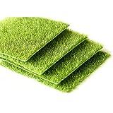 Yalulu 4 Pièce Artificielle Herbe Tapis Plastique Pelouse Grass Intérieur Extérieur Vert Synthétique Gazon Micro Ornement Paysage Décoration