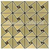 Golden Aluminium-Kunststoff Spiegel Glas Mosaik Wandfliesen, 30x30cm selbstklebende Metall Mosaik Fliesen Aufkleber, Küche Backsplash Hauptdekor Wandfliese, LSLCB03 (11 Stücke/pack)
