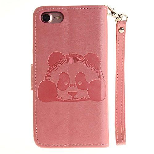 iPhone Case Cover Solid Color 3D mignon Panda Embossed Housse en cuir PU avec Lanyand Card Slots pour IPhone 7 ( Color : 10 , Size : IPhone 7 ) 6