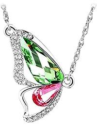 Le Premium® Briser Collier Papillon Cocoon fait avec SWAROVSKI ® ELEMENTS péridot vert + rose
