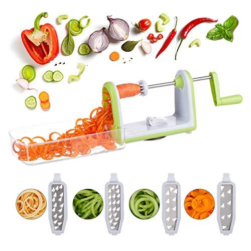 Relaxdays 10024689 Gemüse Spiralschneider, Gemüseschneider mit Kurbel, 5 Edelstahl Klingen, Box für Gemüsespaghetti, weiß/grün