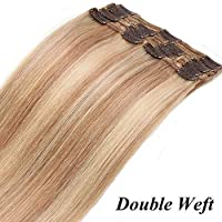 Extension Clip Capelli Veri 8 Fasce 110g Double Weft con 18 Clips 25cm -  100% Remy Human Hair Biondi Clip in Extension. a038ff902627