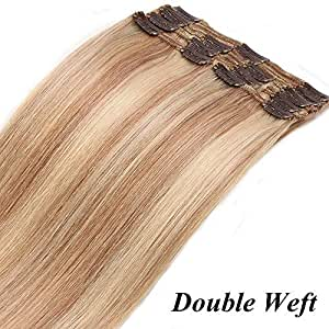 "10""/25CM Extension a Clip Cheveux Naturel Tie And Dye [Double Drawns] 8 Bandes à 18 Clips Hair Extension Teindre/Friser/Lisser Capable - 18P613#Ash Blond Mèche Blond Blanchi"
