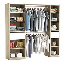 habeig RIESIGER Kleiderschrank #5077 begehbar offen Garderobe Schrank Regal Schublade (Weiß + Holzfarbend)