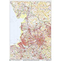 "North West England Postcode Sector Wall Map (S12) - 33.25"" x 47"" Laminated"