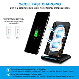 PULESEN Fast Wireless Charger, Qi Wireless Charging Pad Stand [2 Coils] [SC410] for Samsung Galaxy Note 9/S9/S9 Plus/Note 8/S8/S8 Plus/S7/S7 Edge, Standard Charge for iPhone XS/XS Max/XR/X/8/8 Plus
