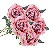 Schön Unechte Blumen, Sonnena 5 Stück Gefälschte Blumen Rosen Seide Kunstblume Bridal Bouquet Hochzeit Blumenstrauß Party Garten Blumen-Bouquet Hortensie Dekoration Wohnaccessoires (E)