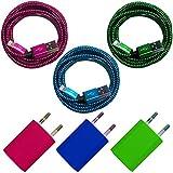 [PremiTroniX®] 3x USB Netzteil 5V/1A + 3x 3m Premium Nylon USB Ladekabel Datenkabel SET kompatibel mit [Apple iPhone X/8/8 Plus/7/7 Plus/6S/6S Plus/6/6 Plus/5S/5C/5/SE, iPad 4/mini/mini 2, iPod touch (5. Gen.), iPod nano (7. Gen)] blau + grün + pink