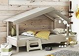 Miroytengo Cama Infantil Forma de casa o Cabaña Diseño Original Color Gris Cálido Unisex Tela en el tejado Medida Cama 90x200 cm SOMIER Incluido