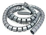 Bambelaa! Kabelschlauch 1,5m Kabelkanal kürzbar Kunststoff flexible Kabelorganisation 20mm Durchmesser (Grau, 1,5m x 20mm)
