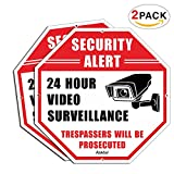 Video surveillance sign, faittoo 2unidades no trespassing Octagon 12