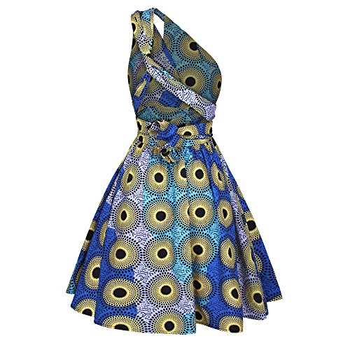 iShine Rockabilly Kleid Damen Knielang V-Ausschnitt Faltenrock A-Linie Kleid mit Floral Party Swing Cocktailkleid Grün