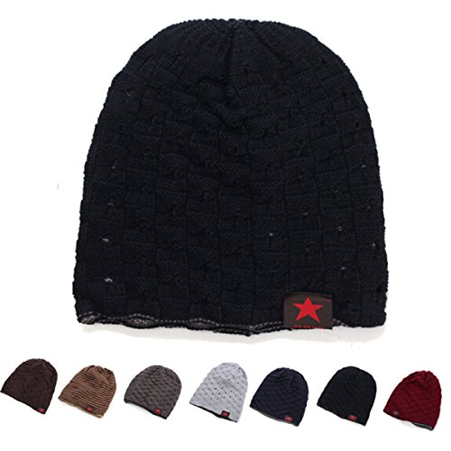 Unisex Winter Warm Skull Knit Beanie Cap Dual Wearable Men Women Riding Skiing (Knit Womens Beanie)