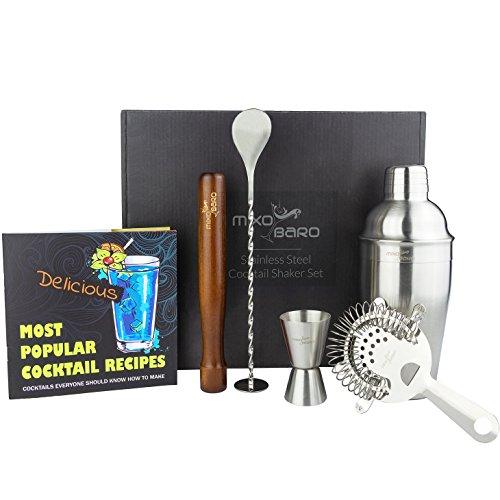 ttan Cocktail Set–Edelstahl Cocktail-Shaker mit Starter Rezept Buch und Cocktails Maker Zubehör–Classic helfen Metall silber Mixer in einem Geschenk-Box (Kunden Mit Eine Ursache)