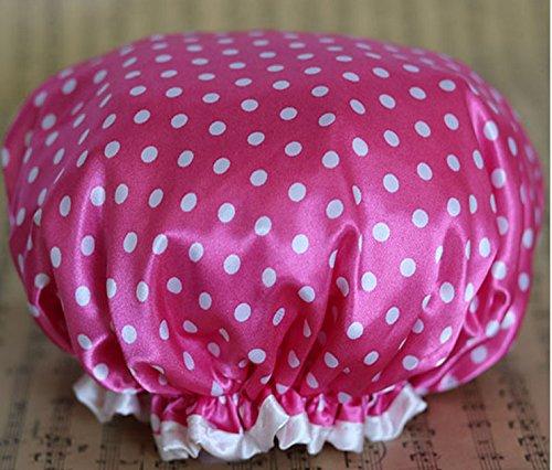 Kaimeng Chapeau de bain imperméable à l'eau de bain bonnet de douche bande élastique double couche pour les femmes-2 Pcs(Rose rouge)