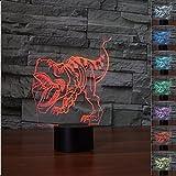 3D Dinosaurios ilusión lámpara luz nocturna 7 colores cambiantes Touch USB de suministro de energía juguetes decoración