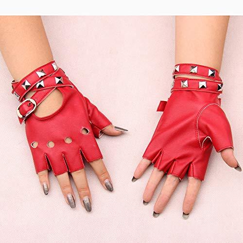 CCMOO New Gothic Punk coole Dame Mädchen Sexy Disco Tanz Rock-and-Roll fingerlose kurze PU-Leder Handschuhe, rote Geschenke - Rot Handschuhe Leder Fingerlose