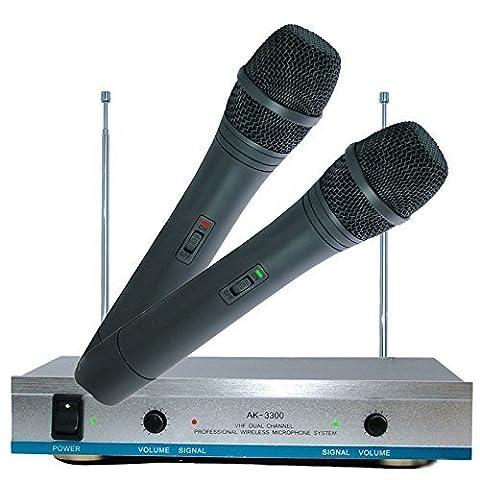 Double AK-3300 VHF PRO Dual DJ karaoké Adresse Publique PA