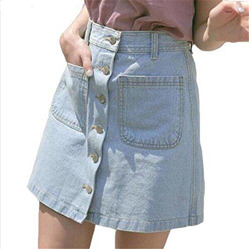 A-Linie Jeansrock für Damen, Vintage Hoch Taillierte Bleistiftrock Comfy Slim Fit Volltonfarbe Miniröcke Streetwear Große Größen