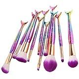 NEEDOON 10 Pezzi Pennelli, Sirena fondotinta fard ombretto cipria creme Make Up brushes (B) immagine