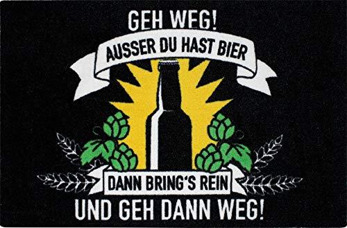 �matte GEH Weg! Außer du hast Bier - Schmutzfangmatte Türmatte 60 x 40 cm - Schwarz ()