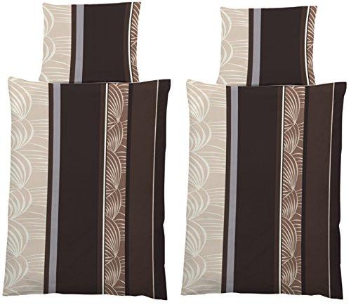 MB Warenhandel24 4-Teilige Leichte Microfaser-Bettwäsche 2X 135x200 Bettbezug + 2X 80x80 Kissenbezug (Microfaser Choco Leaves) (Choco-bettwäsche-set)