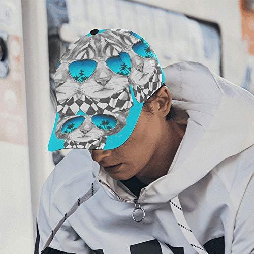 Lustige Katze posiert in Sonnenbrille verstellbare Baseballmütze drucken Baseballmütze Papa Hut 100% Baumwolle weich passt Männer Frauen Unisex Hip-Hop Sport Sommer Strand Aktivitäten