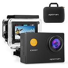 APEMAN Action Cam Sport Action Camera Full HD 1080P 12MP 170° Grandangolare e Kit Accessori con Custodia Impermeabile e Pacchetto Portatile per Ciclismo Nuoto e altri Sport Esterni (Nero)