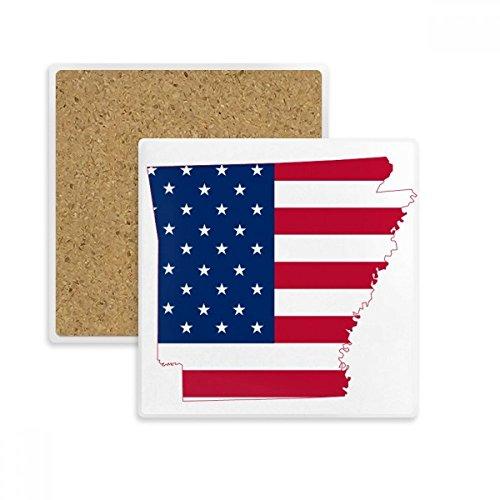 DIYthinker Arkansas Amerika Karte Stars and Stripes-Flagge Form Quadrat Coaster-Schalen-Becher-Halter Absorbent Stein für Getränke 2ST Geschenk Mehrfarbig -