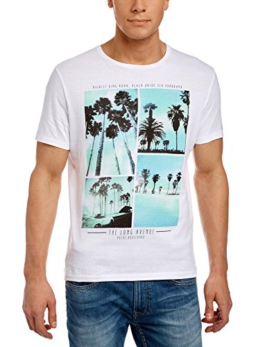 oodji Ultra Herren T-Shirt mit Sommerdruck Weiß (1079P)
