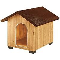 Feplast 87004000 Caseta de Exterior para Perros Domus Extra Large, Robusta Madera Ecosostenible, Pies de Plástico, Rejilla de Ventilación, 93.5 x 113.5 x 90.5 Cm