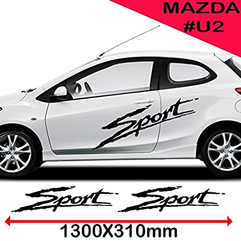 Mazda Car Side Sport Graphics Vinyl Decal Size 1300 x 310 mm (51.1