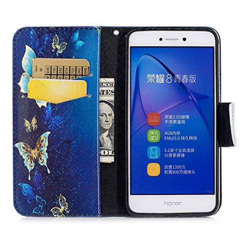 Huawei P8 Lite 2017 (5.2 pouce) Coque , PU Cuir Étui Protection Wallet Housse la Haute Qualité Pochette Anti-rayures Couverture Bumper Magnétique Antichoc Case Anfire Cover pour Huawei P9 Lite (2017)  Bleu Papillon
