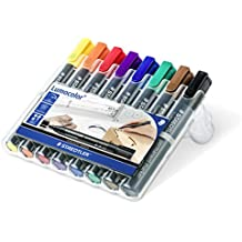Staedtler 350 WP8 Lumocolor permanent marker Keilspitze, 2 mm oder 5 mm, aufstellbare Box mit 8 farben