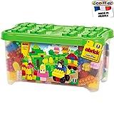 Transparente Box mit 300 kunterbunten Bausteinen, 48 x 26 cm, für Kinder ab 18 Monaten: Spielzeug Große Steckbausteine Kiste Spielset Box