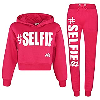A2Z 4 Kids® Girls Tracksuit Fleece Hooded Crop Top Bottom Jogging Suit - T.S Crop #Selfie Pink 11-12